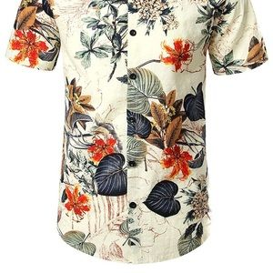 Men's Flower Casual Shirt and Pants Suits